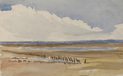 1900's English Impressionist Watercolor Painting Soft Quiet Beach