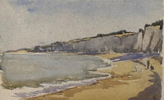 1900's English Impressionist Watercolor Painting Calming Family Day At The Beach
