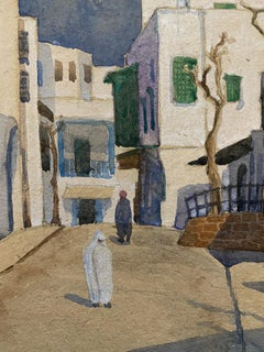 1900's English Impressionist Watercolor Painting Figures Middle Eastern Town