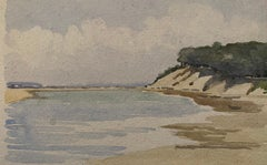 1900's English Impressionist Watercolor Painting Hills Over Silent Sea