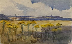 1900's English Impressionist Watercolor Painting Stunning Sunflowers Beach