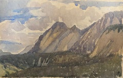 1900's English Impressionist Watercolor Painting Enchanting Cliffs On Sea