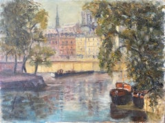 Mid Century English Impressionist Oil Busy City River Scene Boats and Buildings