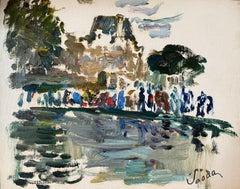 Parisian Park Louvre Paris, Figures by Pond, Signed French Impressionist Oil