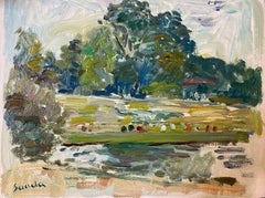 Figures in Park by Lake, French Impressionist Landscape, Signed Oil Painting