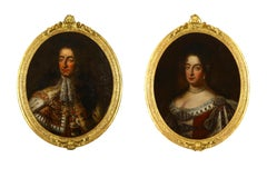 18th Century Pair British Monarch Portrait Oil Paintings Gilt Frames