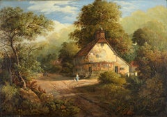 Woodland Cottage with Figure & Cart Washing Drying on Line Early Victorian Oil