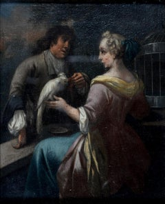 Allegory of Matrimony, Fine early 1700's French Old Master Elegants with Parrot
