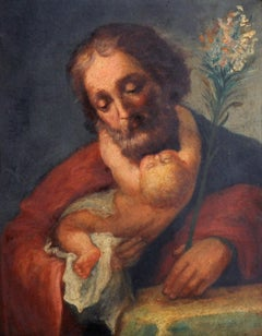 Saint Joseph with Baby Jesus 18th Century Italian Old Master oil on copper