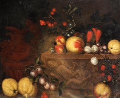17th Century Italian School Still Life of Fruit on a Marble Ledge with a Ewer