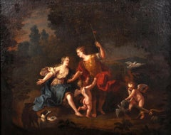 18th Century French Old Master Oil - Diana the Huntress & Cupid Hunting Woodland