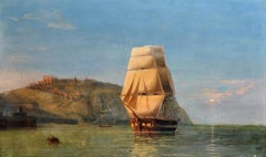 Huge Antique British Marine Oil Painting - Three Masted Tall Sailing Ship dawn
