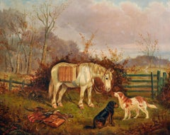 Antique British Sporting Oil Painting Horse & Dogs with the Days Bag