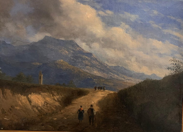 Italian antique Landscape Painting - Early 19th Century Italian Mountain Pass Landscape Travellers on Journey. Oil