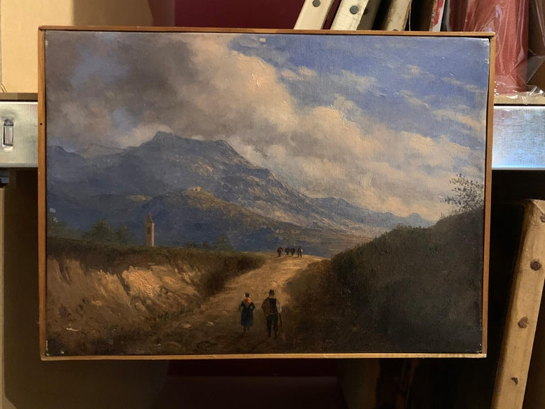 Early 19th Century Italian Mountain Pass Landscape Travellers on Journey. Oil  - Painting by Italian antique