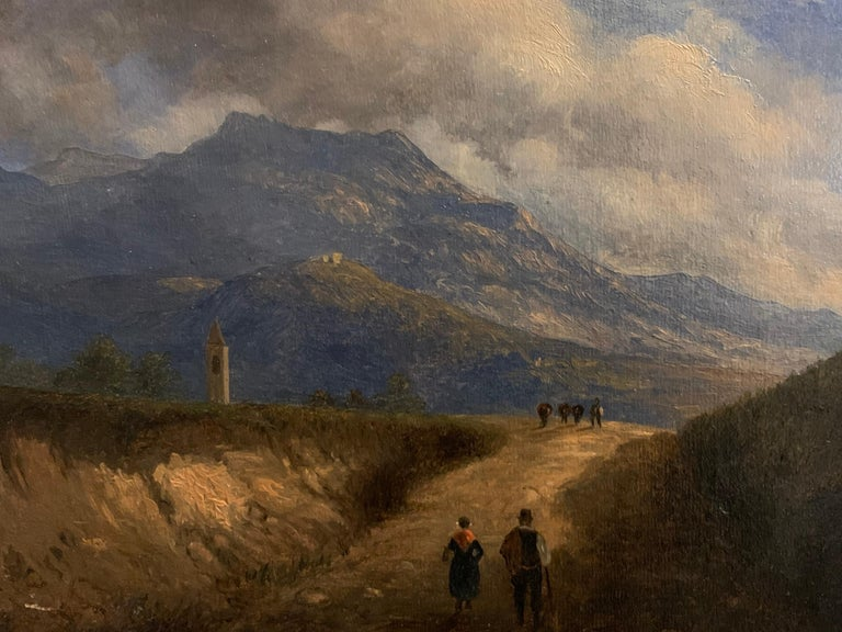 Early 19th Century Italian Mountain Pass Landscape Travellers on Journey. Oil  - Victorian Painting by Italian antique