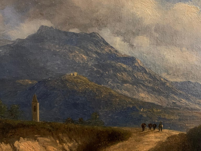 Early 19th Century Italian Mountain Pass Landscape Travellers on Journey. Oil  - Black Landscape Painting by Italian antique