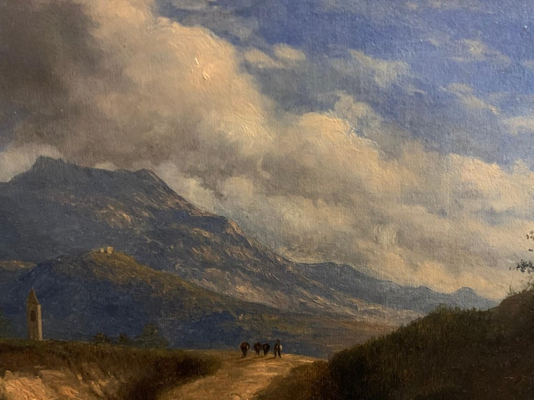 Italian School, early 19th century The Mountain Pass inscribed and titled indistinctly verso oil painting on canvas, framed (wooden) overall measurements: 22cm x 30cm condition: very good, a few very tiny scufffs left edge  provenance: private