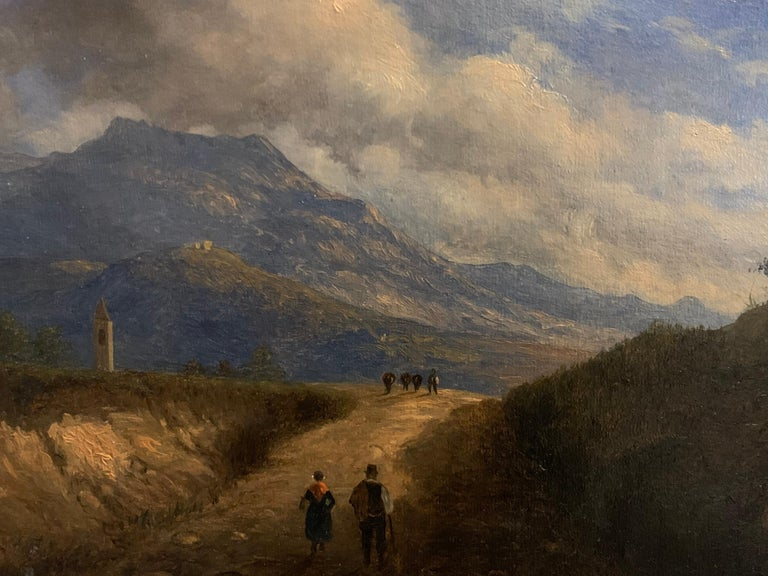 Early 19th Century Italian Mountain Pass Landscape Travellers on Journey. Oil  For Sale 1