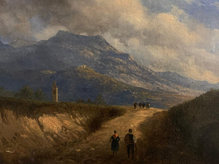 Early 19th Century Italian Mountain Pass Landscape Travellers on Journey. Oil  For Sale 2