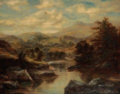 The Highland River Landscape, Antique Victorian Scottish Oil Painting framed