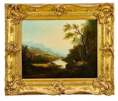 Anglers in Arcadian Sunset Landscape Fine Antique British Oil Painting