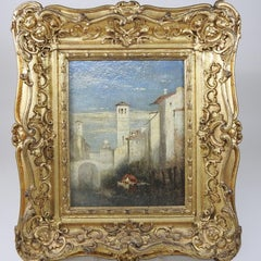 The Venetian Backwater, Fine Period c.1850's Oil Painting, Gilt Frame