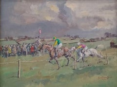 Fine British Horse Racing Oil Painting 'Crossing the Post' signed and dated 1971
