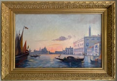 Late 19th Century Oil Painting - Sunset over Grand Canal Venice, Gondoliers