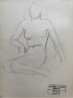 Mid 20th century French Original Line Drawing sketch Nude Lady - Stamped