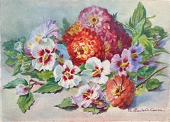 Early 1900's French Impressionist Signed Flower Watercolour by Marie Carreau