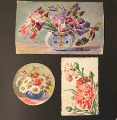 3 x  1900's French Impressionist Signed Flower Watercolours by Marie Carreau