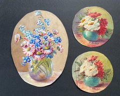 Early 1900's French Impressionist Signed Flower Watercolours y Marie Carreau