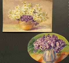 2 x Early 1900's French Impressionist Signed Flower Watercolours Marie Carreau