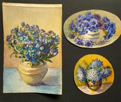 3 x Early 1900's French Impressionist Signed Flower Watercolours Marie Carreau