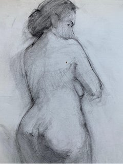Mid 20th Century French Charcoal Drawing - Portrait of a Standing Nude Women