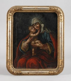 FINE 18TH CENTURY GERMAN OLD MASTER OIL PAINTING - THE MADONNA & INFANT CHRIST