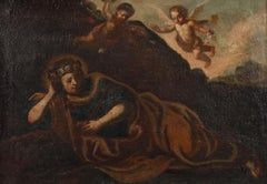 FINE EARLY 1700'S ITALIAN BAROQUE OLD MASTER - MARY MAGDALENE WITH CHERUBS