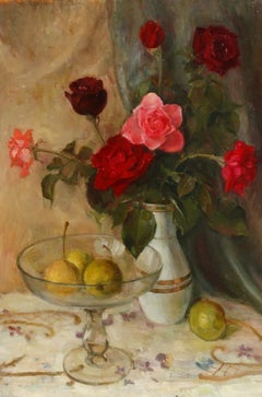 Large Impressionist Signed Oil - Still Life Roses & Apples in Glass Bowl