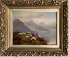 Antique Scottish Oil Painting Sheep in Misty Highland Loch Landscape signed