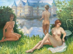 Huge French Impressionist Oil Nude Bathers French Chateau Country Parkland Lake