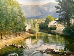 Huge 20th Century French Impressionist Oil Tranquil River French Landscape