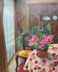 Large French Signed Oil - Colorful Interior Room Setting with Pink Flowers
