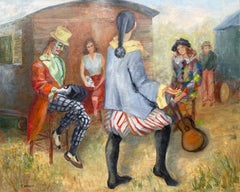 Huge Colourful 20th Century French Impressionist Oil Musical Clowns Gathered
