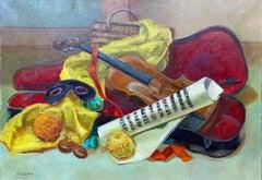 Colourful 20th Century French Impressionist - Musicians Violin Masque Still Life