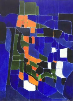 1980's FRENCH CUBIST ABSTRACT SIGNED OIL PAINTING - DEEP BLUE GREEN ORANGE BLACK