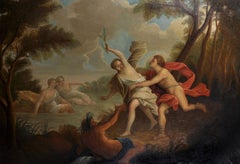 Huge French 18th Century Rococo Oil Painting Mythological Diana the Huntress