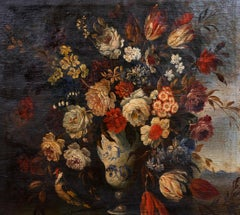 Fine 18th Century Italian Still Life of Flowers in Chinese Vase Ornamental Bird
