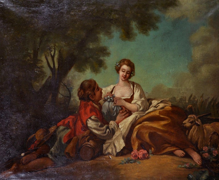 Follower of Jean-Honore Fragonard Animal Painting - Fine Large 1800's French Rococo Oil Painting - Courting Shepherd Pastoral scene