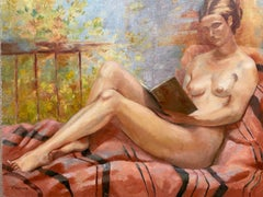 Huge 20th Century French Impressionist Oil - Reclining Nude Lady Reading Book